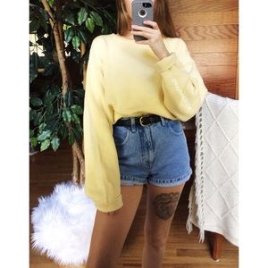 🌿 Vintage Sunny Pastel Yellow Chunky Knit Sweater